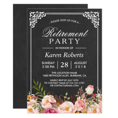 Chalkboard retirement party invitation card zazzle stopboris Image collections