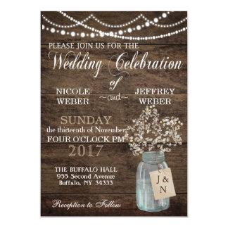 """Rustic Floral Flower Country Mason Jar Wedding 5"""" X 7"""" Invitation Card"""
