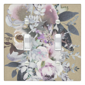Rustic Floral Glam Navy Kraft Natural Organic Chic Light Switch Cover