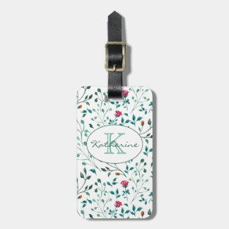 Rustic Floral & Green Foliage Pattern | Monogram Luggage Tag