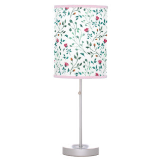 Rustic Floral & Green Foliage Pattern Table Lamp