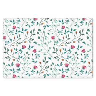Rustic Floral & Green Foliage Pattern Tissue Paper
