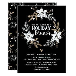 Rustic Floral Holiday Brunch Party Card