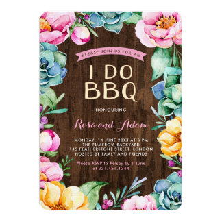 Rustic Floral I Do BBQ Card