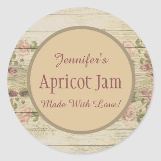 Rustic Floral Jelly Jam Custom Jar Baking Bakery Classic Round Sticker