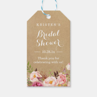 Rustic Floral Kraft | Bridal Shower Thank You Pack Of Gift Tags