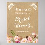 Rustic Floral Kraft Look   Bridal Shower Sign