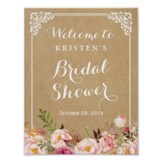 Rustic Floral Kraft Look | Bridal Shower Sign Poster