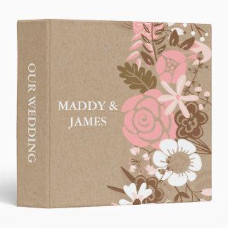 Rustic Floral Kraft Paper Wedding Keepsake Binder