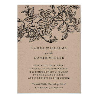 Rustic Floral Kraft Rose Garden Wedding Invitation