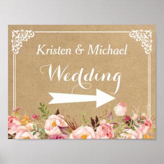 Rustic Floral Kraft | Wedding Direction Sign