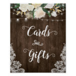 Rustic Floral Lace Cards and Gifts Wedding Sign