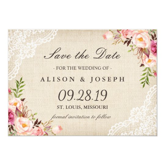Rustic Floral Lace Ivory Burlap Save the Date Card