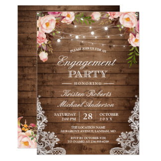 Rustic Floral Lace String Lights Engagement Party Card