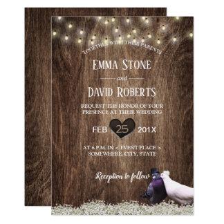 Rustic Floral Lovebirds & String Lights Wedding Card