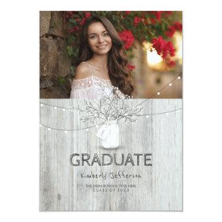 Rustic Floral Mason Jar Photo Graduation Party Card