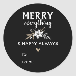 Rustic Floral Merry Everything Christmas Name Classic Round Sticker