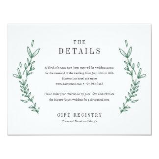 Rustic Floral Monogram Wedding Details Card