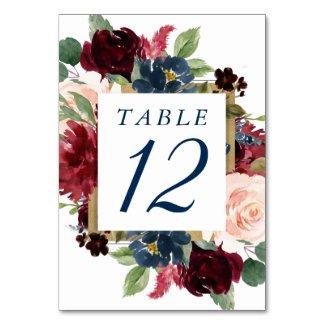 Rustic Floral | Navy Blue Burgundy Red Gold Frame Table Number