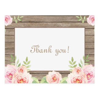 Rustic Floral Old Wood Wedding Thank You Postcard