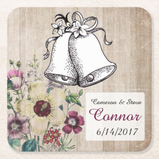 Rustic Floral  Personalized Wedding Bell Coasters
