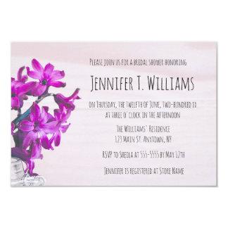 Rustic floral purple bridal shower invitations