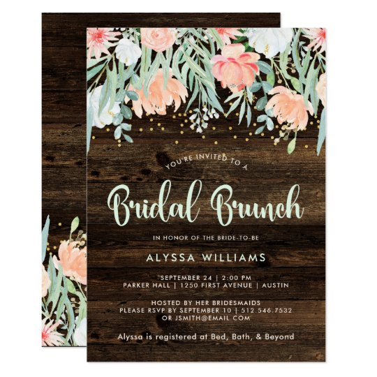 Rustic Floral Romance | Bridal Brunch Card