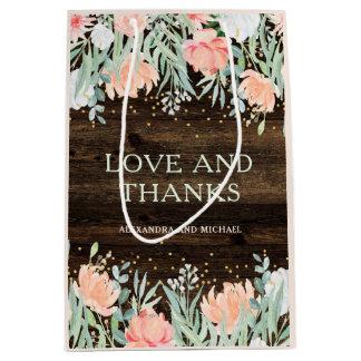 Rustic Floral Romance | Watercolor Wedding Medium Gift Bag