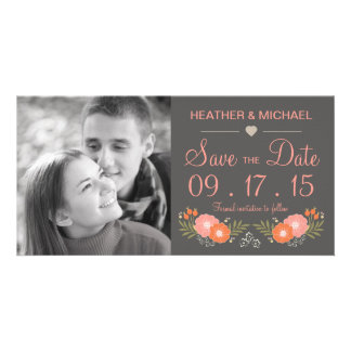 Rustic Floral Save the Date Card