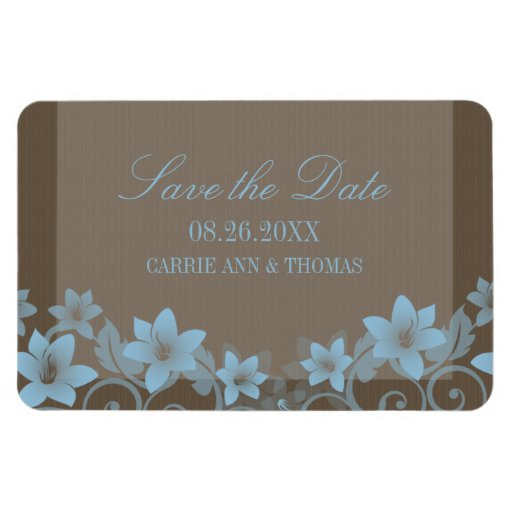 Rustic Floral Save the Date Magnet, Blue