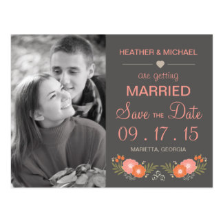 Rustic Floral Save the Date Photo Postcard