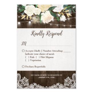 Rustic Floral String Lights Lace Wedding RSVP Card
