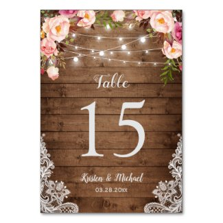 Rustic Floral String Lights Wedding Table Number