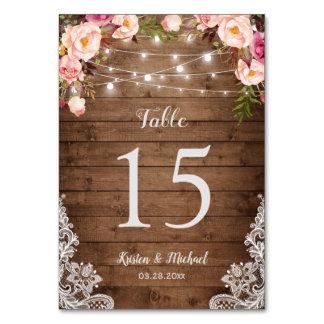Rustic Floral String Lights Wedding Table Number