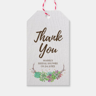 Rustic Floral Succulent Bridal Shower Thank You Pack Of Gift Tags
