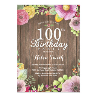 Rustic Floral Surprise 100th Birthday Invitation