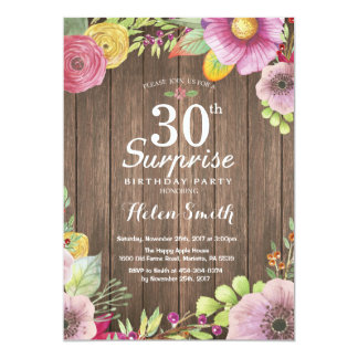 Rustic Floral Surprise 30th Birthday Invitation