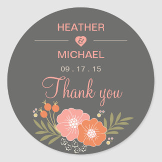 Rustic Floral Thank You Classic Round Sticker