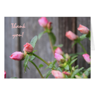 Rustic Floral Thank You Flowers Against Wood Fence Card