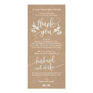 Rustic Floral Thank You Place Setting Card