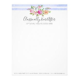 Rustic Floral Watercolor Modern Stripe Shabby Chic Letterhead