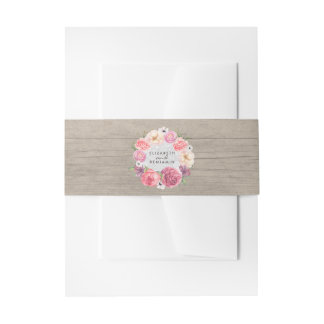 Rustic Floral Watercolor Wood Wedding Invitation Belly Band