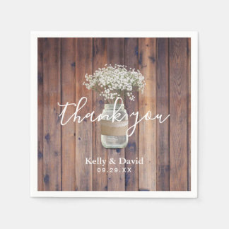 Rustic Floral Wedding Baby's Breath Mason Jar Paper Napkin