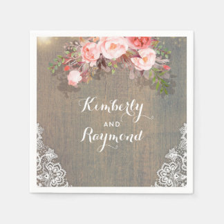Rustic Floral Wedding Disposable Napkins