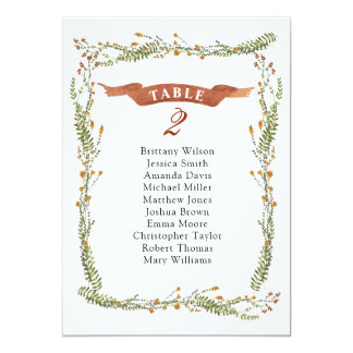 Rustic floral wedding seating chart. Country plan Card