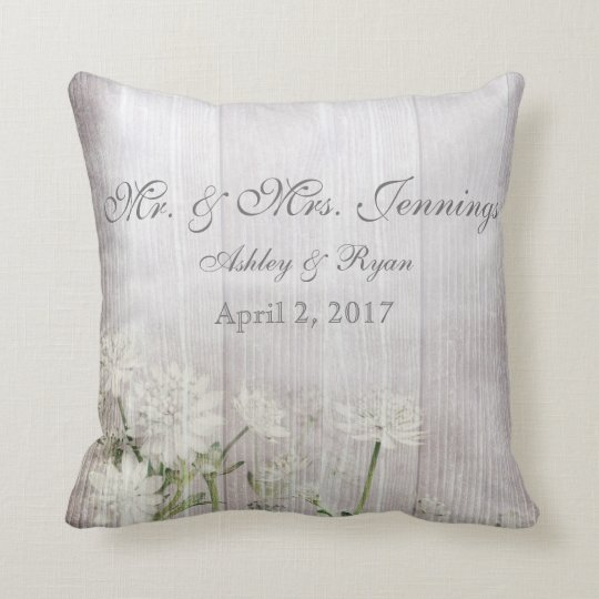 Rustic Floral Wedding Throw Pillow