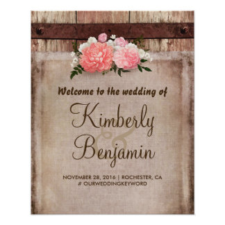 Rustic Floral Wedding Welcome Sign Poster