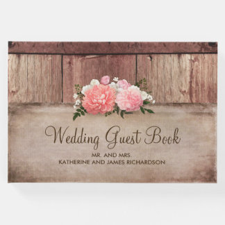 Rustic Floral Wood and Burlap Barn Wedding Guest Book