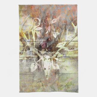 Rustic Floral Wood Grain Stag Skull Antlers Kitchen Towel