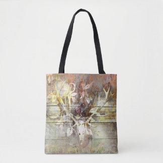 Rustic Floral Wood Grain Stag Skull Antlers Tote Bag